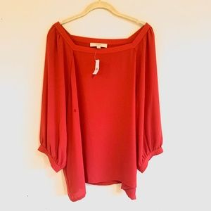 LOFT | Size XXL | NWT | Coral/Red Blouse Top